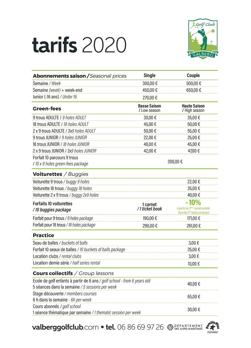 valberg golf tarifs 2020